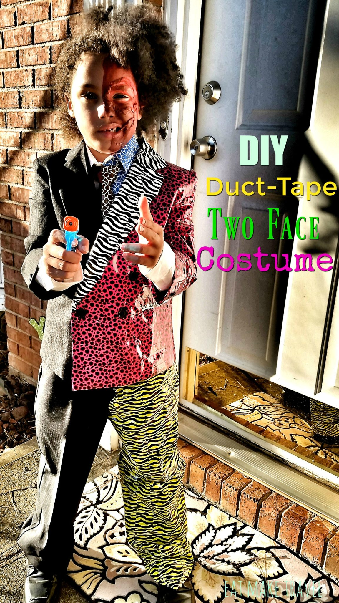 No Sew Two Face Costume | Seeking The Weekend