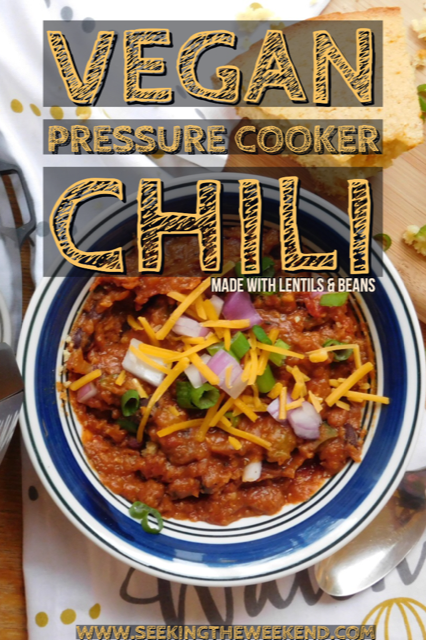 Pressure cooker vegan chili made with lentils and beans is the perfect meal that is hearty and easy! This meal can be made in under 30 minutes.